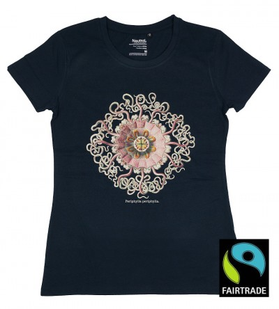 Navy blue organic fairtrade tshirt jellyfish