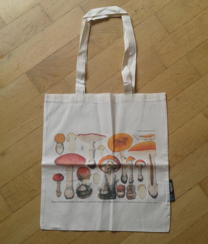 fairtrade cotton bag with mushrooms